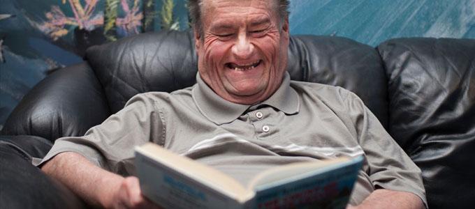 Gentleman reading a book